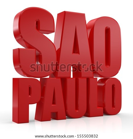 3D Sao Paulo word on white isolated background