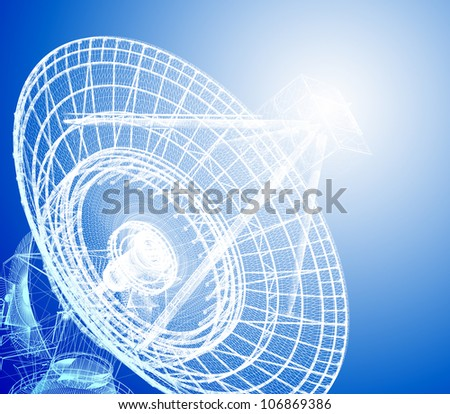 3d satellite dish in blue color - stock photo