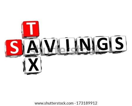 3D Savings Tax Crossword on white background  - stock photo