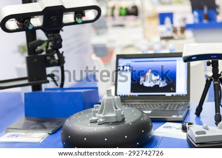 3D scan high precision part for reverse engineering - stock photo