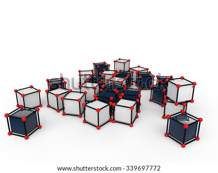 3d scattered futuristic cubes - stock photo