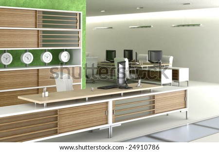 3D scene of a modern office envirnment - stock photo