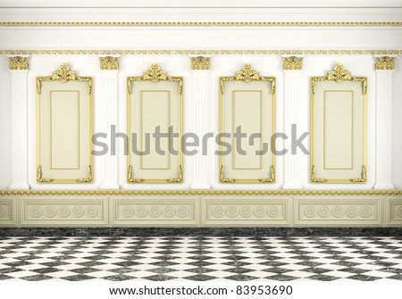 3d scene of a white classic wall with golden moldings and marble floor - stock photo