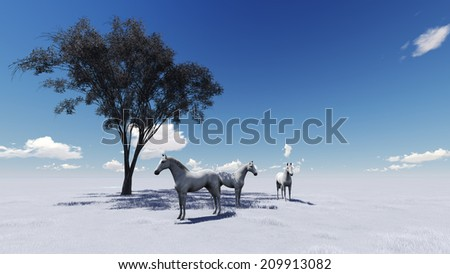 3d scene of Morning Pasture.  Horses grazing in a pasture in the morning light - stock photo