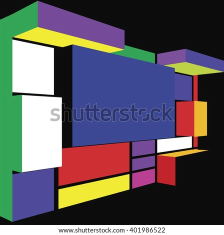 3D Seamless abstract geometric colorful pattern for continuous replicate. - stock photo