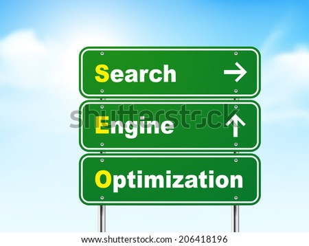 3d search engine optimization road sign isolated on blue background - stock photo