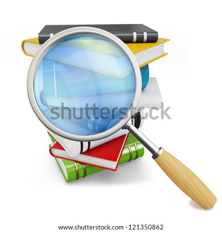 3d searching books with magnifying glass on white background - stock photo