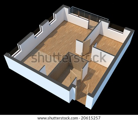 3D sectioned empty apartment with clipping path - stock photo