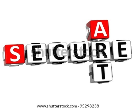 3D Secure Art Crossword over white background