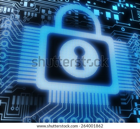 3D. Security, Security System, Technology. - stock photo