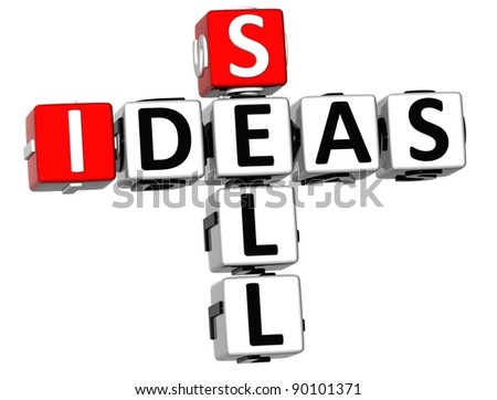 3D Sell Ideas Crossword on white background - stock photo