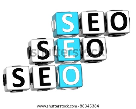 3D Seo Crossword on white background - stock photo