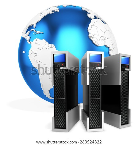 3d server blade units with earth globe on white background - stock photo