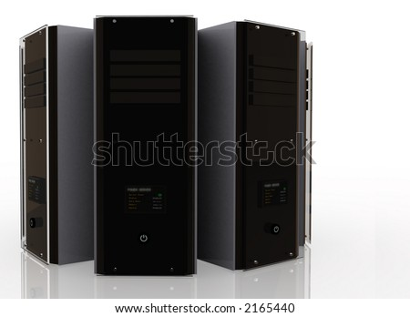 3d servers over a white background