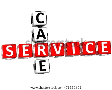3D Service Care Crossword on white background