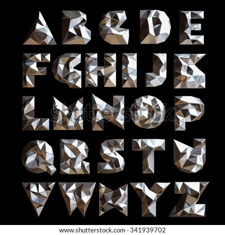 3d set chrome geometric shapes alphabet letters. High resolution - stock photo