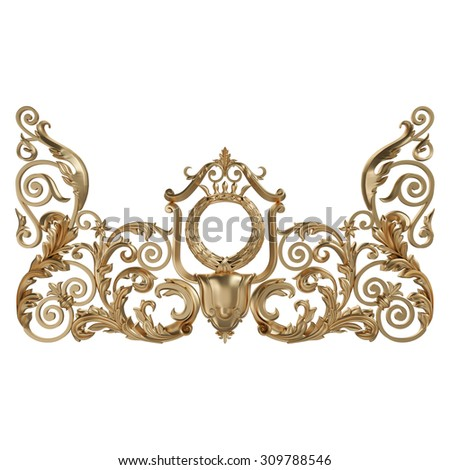 3d set of an ancient gold ornament on a white background. High resolution - stock photo