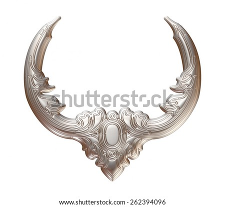 3d set of an ancient silver ornament on a white background - stock photo