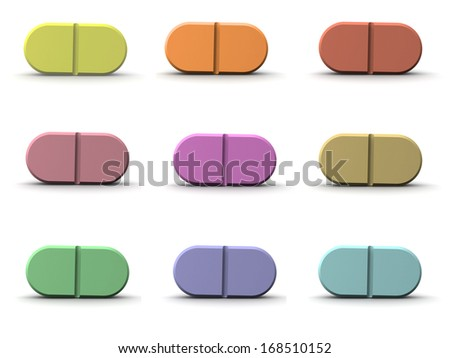 3d set of colored pills - stock photo