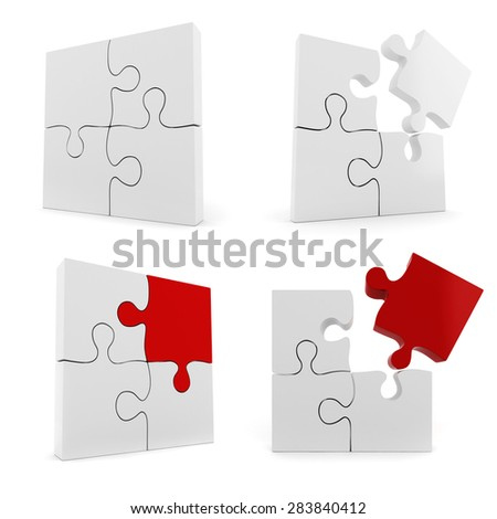 3d set of puzzle pieces on white background - stock photo