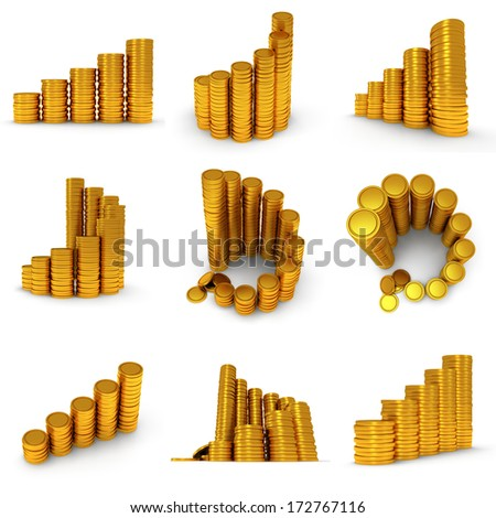 3d set of schedule. Pile of golden coin as stairs 3d render isolated on white background - stock photo