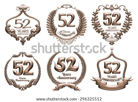 3D set of 52 years anniversary elements on isolated white background. - stock photo