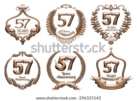 3D set of 57 years anniversary elements on isolated white background. - stock photo