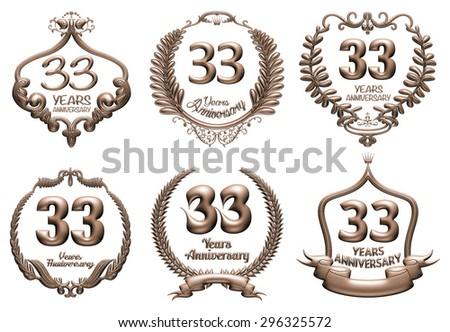3D set of 33 years anniversary elements on isolated white background. - stock photo