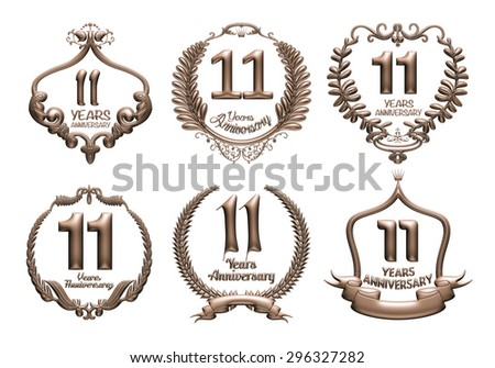 3D set of 11 years anniversary elements on isolated white background. - stock photo