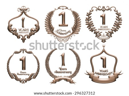 3D set of 1 years anniversary elements on isolated white background. - stock photo