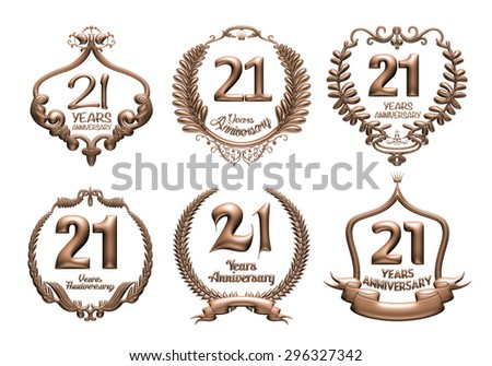 3D set of 21 years anniversary elements on isolated white background. - stock photo