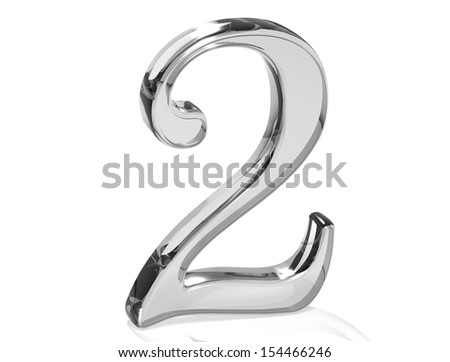 3D Set Silver Number on white background  - stock photo