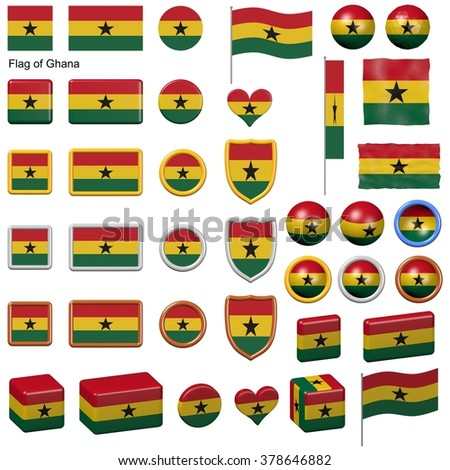 3d shapes containing the flag of Ghana