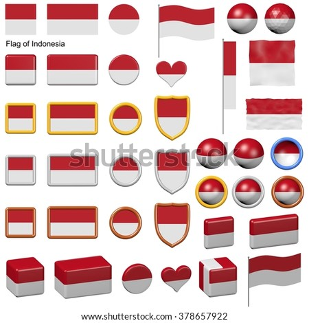 3d shapes containing the flag of Indonesia