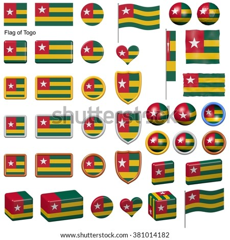 3d shapes containing the flag of Togo