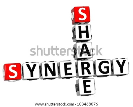 3D Share Synergy Crossword on white background - stock photo