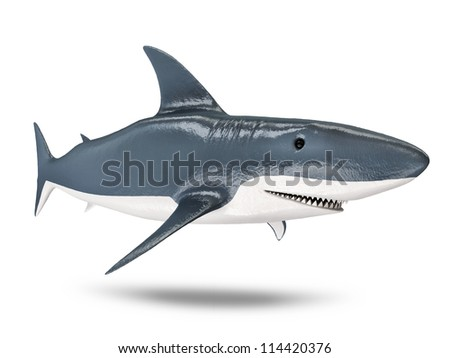 3d Shark isolated on white background - stock photo