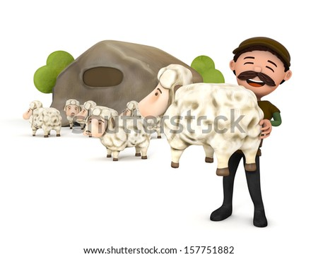 3d sheep and sheepman isolated - stock photo