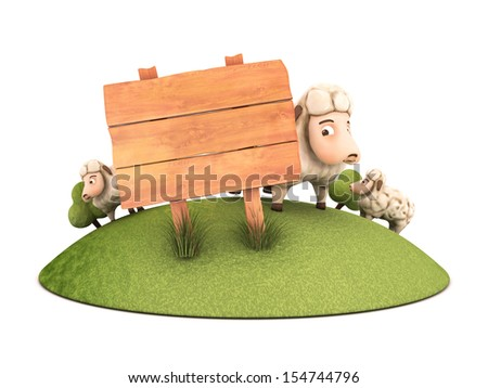 3d sheep wih wooden frame - isolated illustration - stock photo