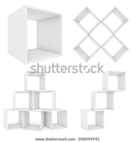 3d shelf. 3d render on white background. - stock photo
