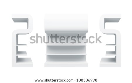 "3D shelves and shelf "" S Design "" on a white background. Isolated"