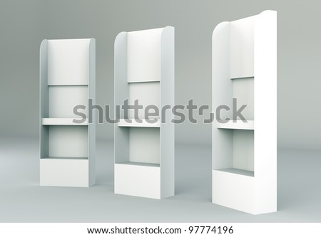 3D shelves display Gondola wire wing panel - stock photo