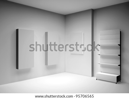 3D shelves for wrap advertising and boxes in a gallery - stock photo