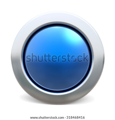 3d shiny button - blue version - stock photo