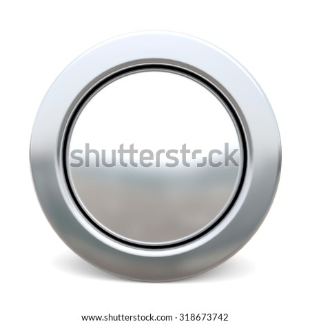 3d shiny button - white version - stock photo
