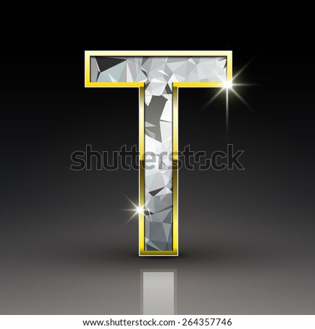 3d shiny diamond letter T isolated on black background - stock photo