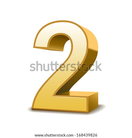 3d shiny golden number 2 on white background