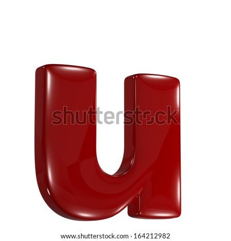 3d shiny matt red font made of plastic or ceramic - u lovercase letter - stock photo