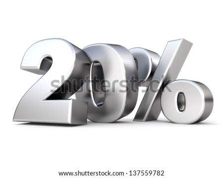 3d shiny metal discount collection - 20 percent - stock photo