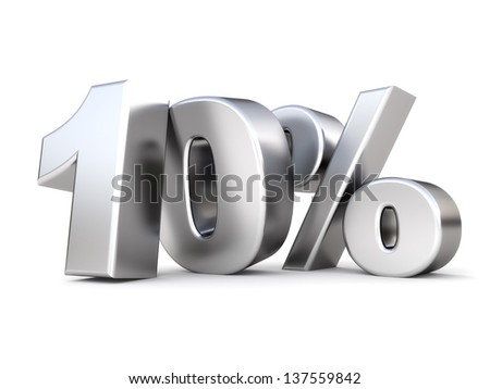 3d shiny metal discount collection - 10 percent - stock photo
